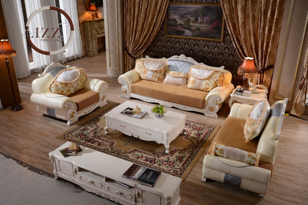 Lizz Living Room Royal Furniture Royal Sofa Set Genuine Leather Button Tufted