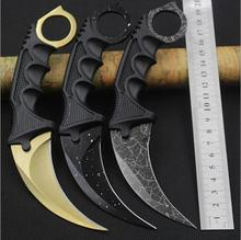 Real CS GO Karambit Knife Counter Strike Camping Hiking Survival Knife Sheath Combat Claw Knife  6 Colors  Drop Shipping