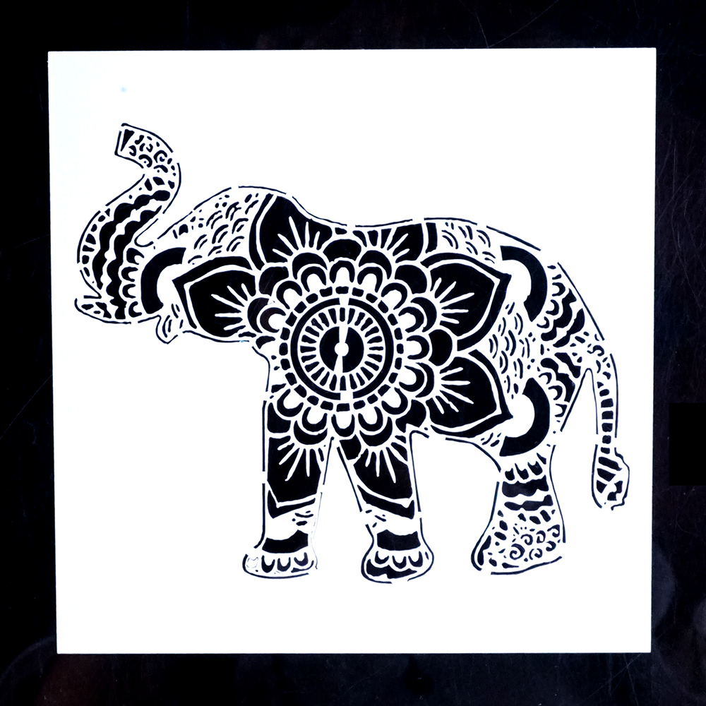 Us 0 87 20 Off A4 A3 A2 Elephant Mandala Stencil For Wall Painting Diy Scrapbooking Photo Album Card Making Craft Decorative Embossing Template In
