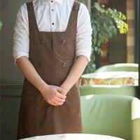 Long Black Brown Cotton Apron Barista Cafe Bistro Baker Catering Uniform Painter Florist Gardener Kitchen Cook