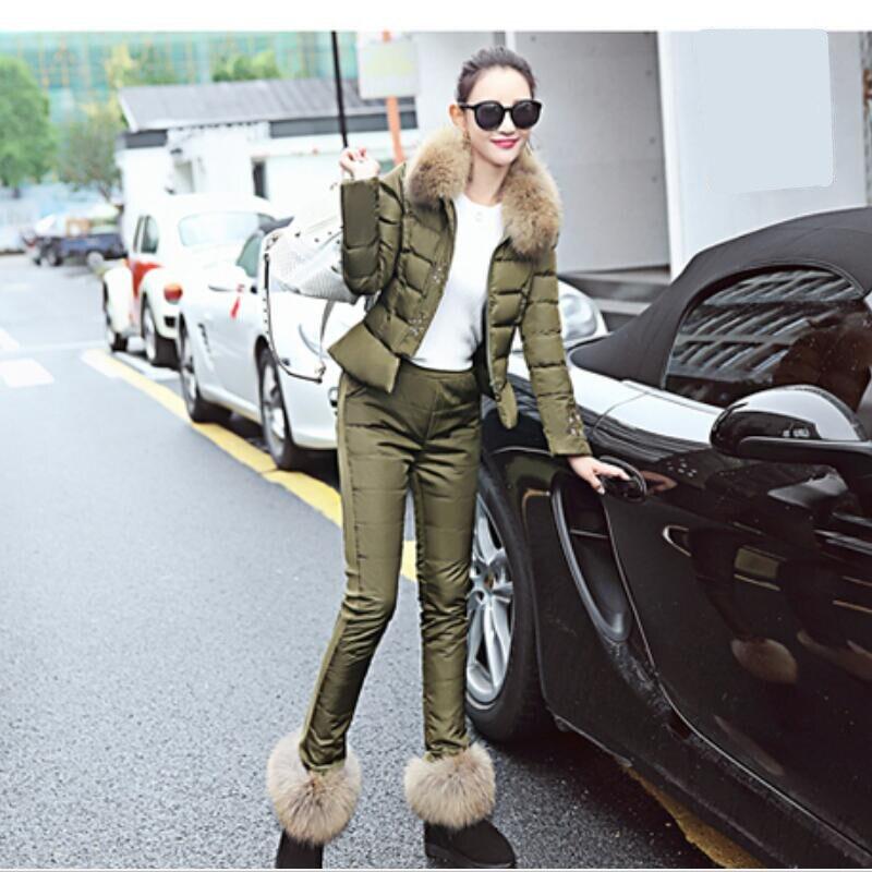 Hiver Deux pièce Le Costume Coton black light Épais Armygreen Mode Bas Blue Femmes Casual pink Y232 Tendance Veste Chaud Vers Yummycook Tempérament Nouveau qwaxEpZnOX