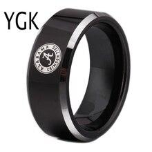 Бесплатная доставка таможни гравировка кольцо Лидер продаж 8 мм Черный с блестящей края Алабама Дизайн Вольфрам обручальное кольцо