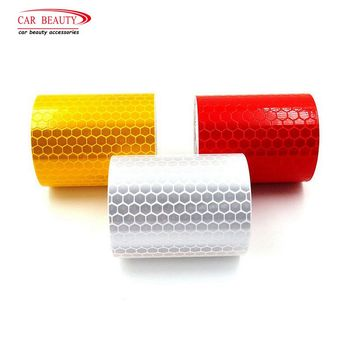 1 Roll Car Reflective Tape Sticker Safety Mark Car Styling Self Adhesive Warning Tape Motorcycle Bicycle Film Decoration Tool yjzt 12cm 10 7cm danger biohazard sign warning mark personality car sticker reflective motorcycle parts c1 7558