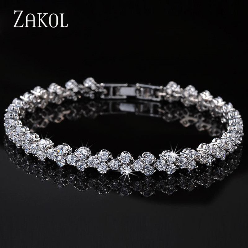 ZAKOL Hot Sell Top Quality Cubic Zirconia Roman Chain Bracelet Bangle For Women Crystal Bride Wedding Jewelry FSBP067 hot sell middle east brand titanium steel leopard bracelet bangle for women double wire full drill bangles bracelet top quality