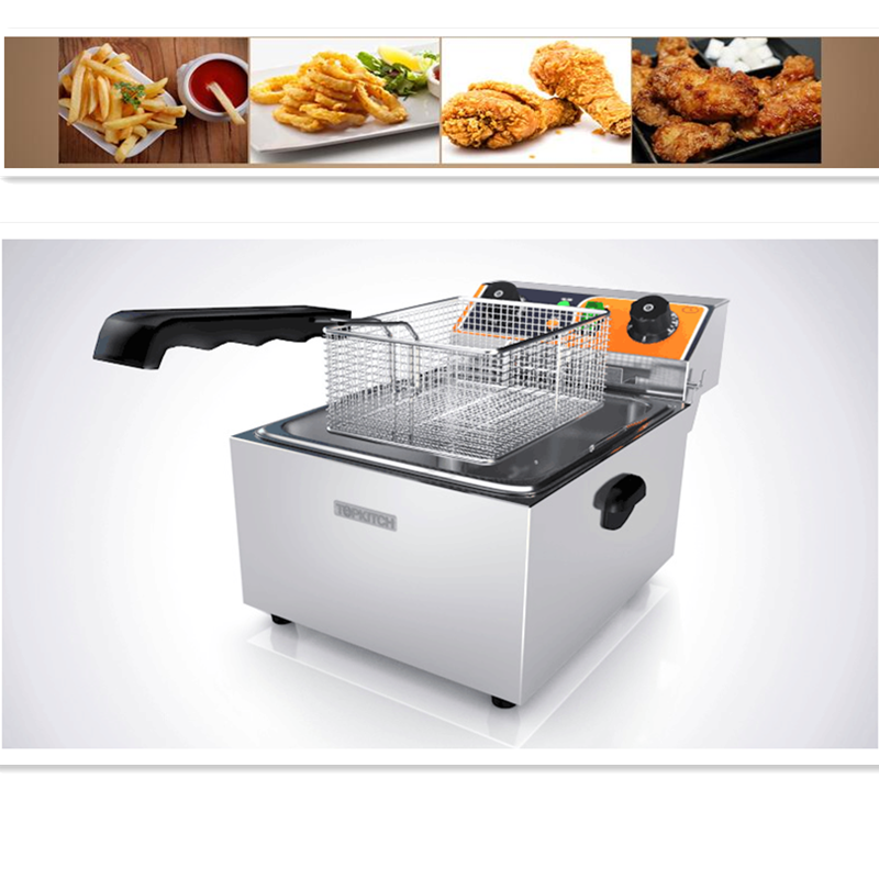 220V/3Kw 10L Commercial Electric Fryer Commercial Fried Chicken And French Fries With Timer
