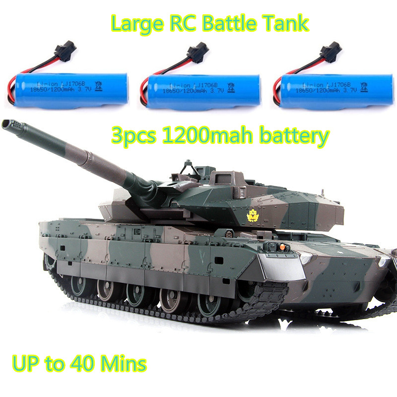 XQTK24 with 3pcs Battery Army remote controlRC Battle Tank RC Tank Model Simulation recoil Military Tank 330 degree rotating to