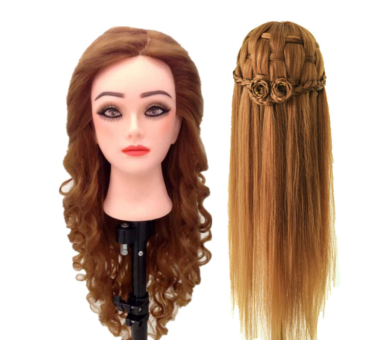 Hairdressing Doll Heads 21inch 80% Human Hair Mannequin Head Training Doll Hair Styling Head