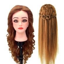 Парикмахерские куклы головы 21 дюймов 80% человеческие волосы манекен голова Обучение Кукла Волосы Стайлинг головы
