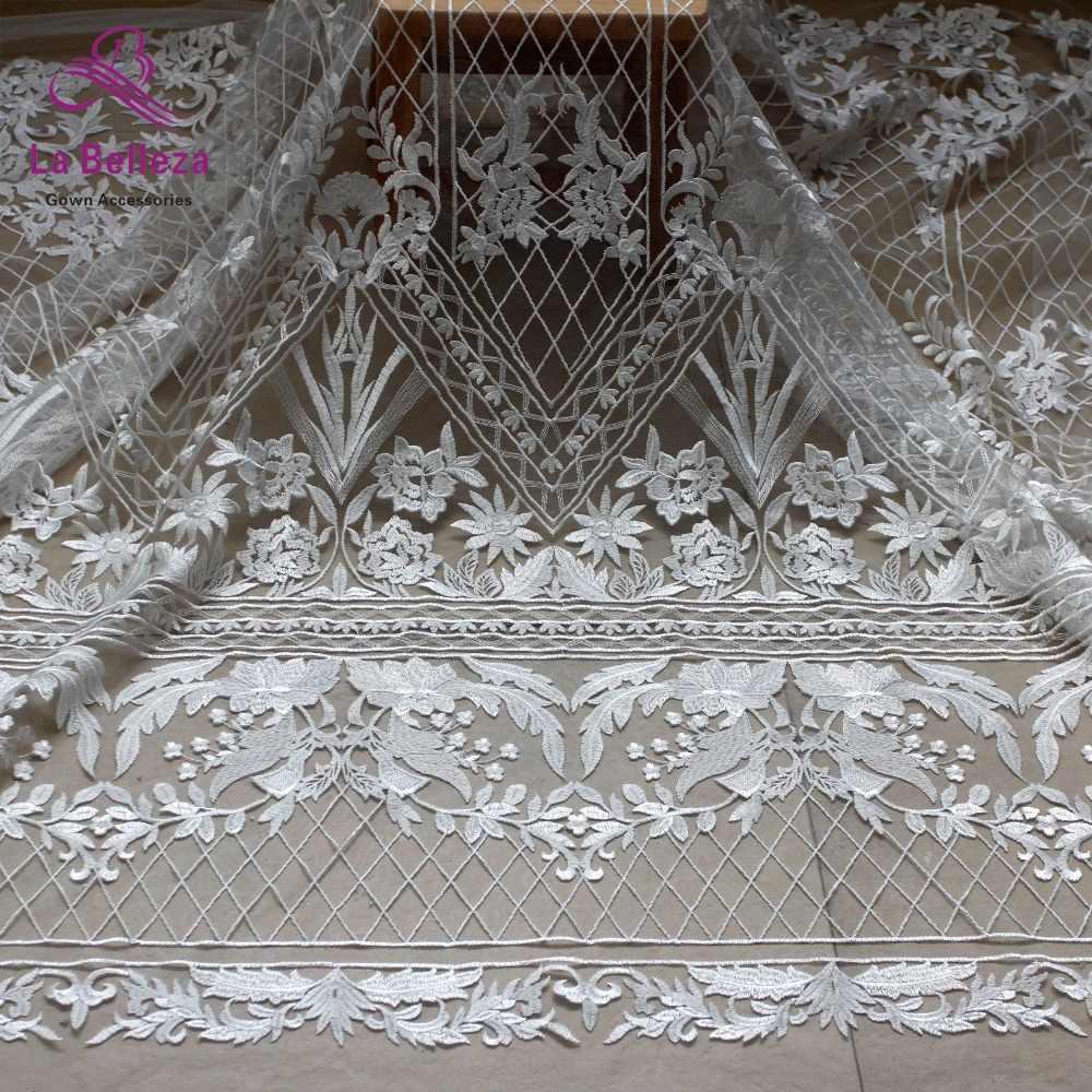 ניו כבויה לבן גדול דפוס רקום טול/נטו weddingdress תחרה בד DIY תפירת אביזרי תחרה בד