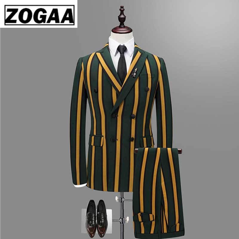 ZOGAA 2019 Vertical Stripe Men Business Suit Male Thin Double Breasted Jacket Men's Fashion Vest + Pants + Jacket 3PCS Suit