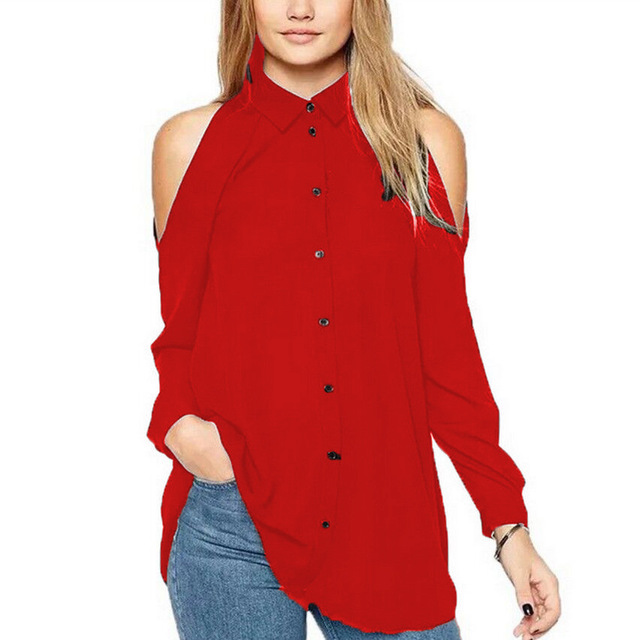 61eaaad5f432d 2017 Autumn Shirt Women Tops Sexy Off Shoulder Full Sleeve Turn-Down Collar  Button Plus Size Casual Chiffon Blouse Maxi 4XL 5XL