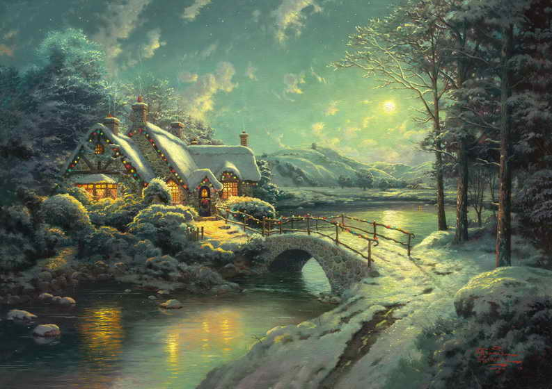 Christmas Moonlight Thomas Kinkade HD Canvas Print Home Decoration Living Room Bedroom Wall Pictures Art Painting