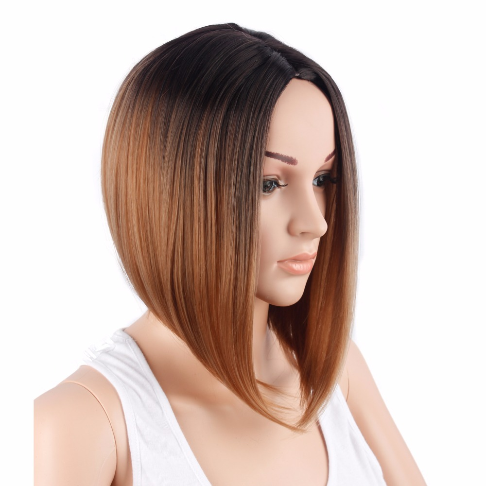 Synthetic Short Straight Bob Wigs For Black And White