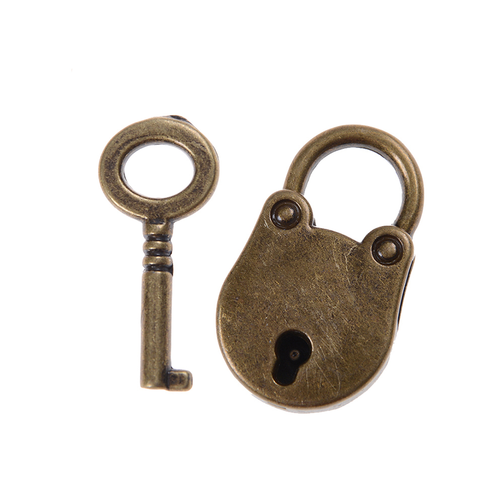 Archaistic Chinese Vintage Antique Old Style Lock//key Brass Carved  Padlock rw