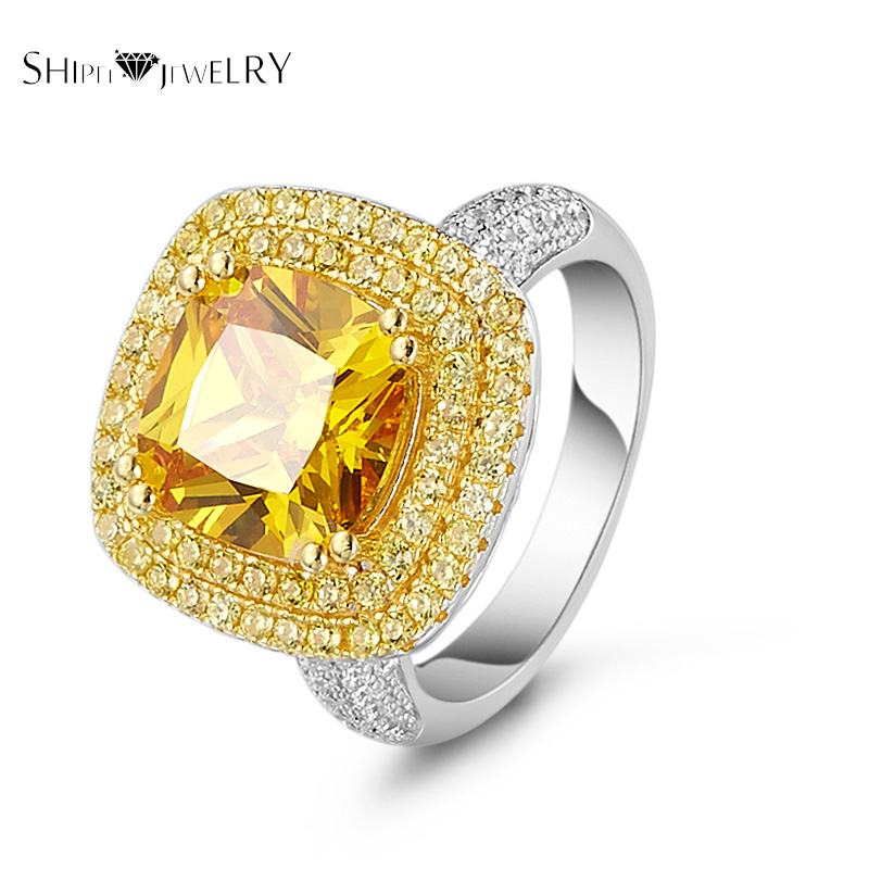 Brand Jewelry!SHIPEI Yellow CZ Ring in Plated White Gold with Top Round Brilliant Crystal,Fashion Ring for Women yoursfs heart necklace for mother s day with round austria crystal gift 18k white gold plated