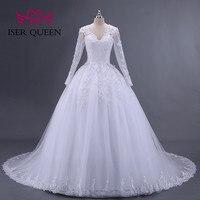 Long Sleeve Arab Muslim Wedding Dress Ball Gown Pearls Beaded Embroidery Appliques Wedding Dresses 2019 New Bride Dress W0008