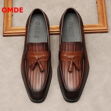 цены OMDE Genuine Leather Tassel Men Shoes Luxury Embossed Leather Mens Loafers Handmade Slip On Casual Shoes Men Breathable Slippers