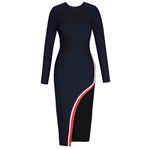 Image 2 - Женское облегающее платье миди Ocstrade, черное облегающее платье из вискозы с длинным рукавом для клувечерние, 2019