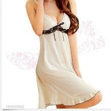 2016 New Summer Sexy Loose Lady Sling Sleepshirt White Lace Print Short Nightgown V Neck Silk Underwear