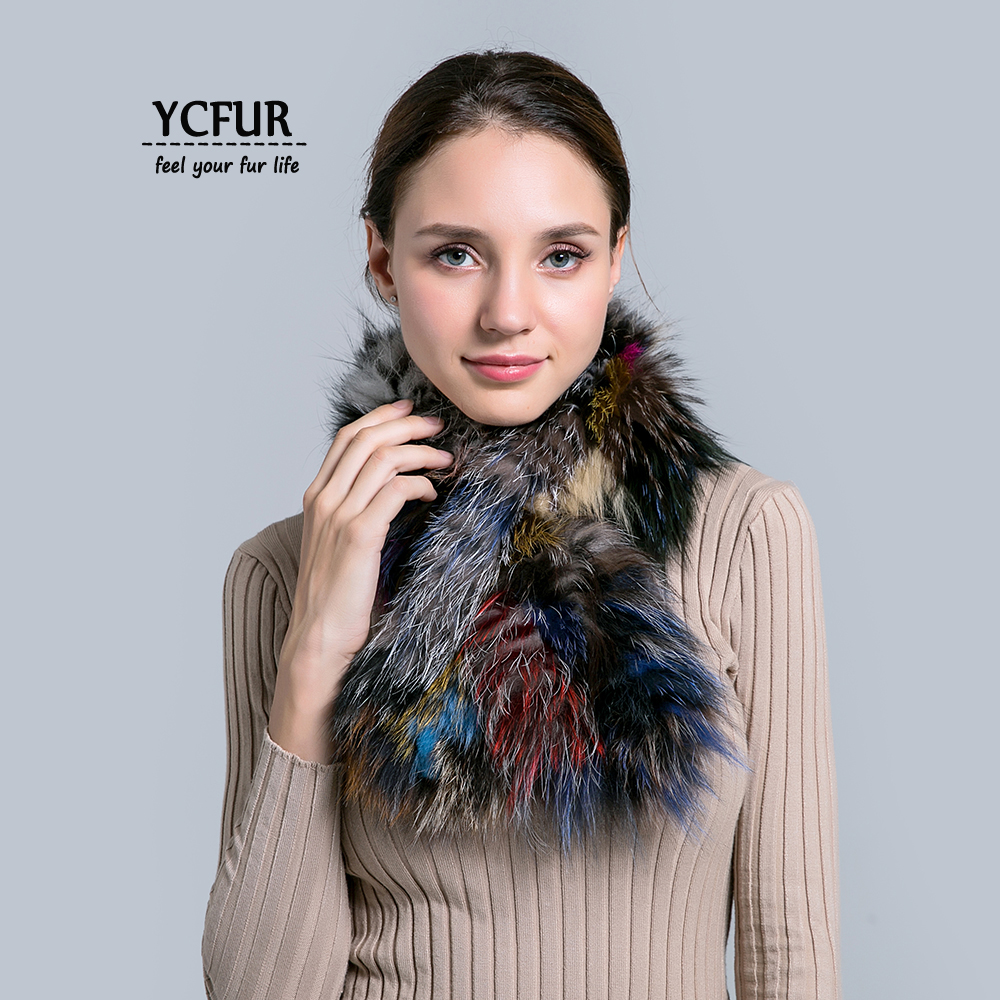 YCFUR Women   Scarf     Scarves   Winter Handmade Knit Real Fox Fur Neck   Scarf     Wrap   For Women Winter Warm   Scarves   Shawls Female