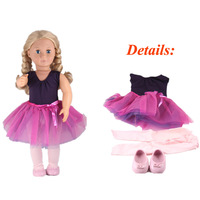 Og платье принцессы Темно-синие жилет Топ фиолетовый шифоновая пачка Юбки для женщин Розовая кукла Леггинсы для женщин и Обувь Fit 18 дюймов ...