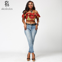 African women's clothes in the summer of 2017 the word collar blouse fashion batik coat free shipping