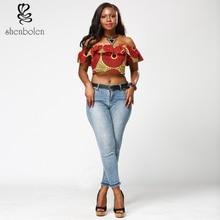 Pakaian wanita Afrika di musim panas 2017 kata kerah blus busana batik lambang pengiriman gratis