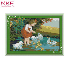 The little girl and ducks in pool counted print on canvas DMC 14CT Cross Stitch kits,embroidery needlework Set,handmade Decor