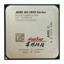 Процессор AMD с четырехъядерным процессором, процессор с процессором AD3870WNZ43GX и гнездом FM1, с процессором A8 3870, 3870K, 3,0 ГГц,