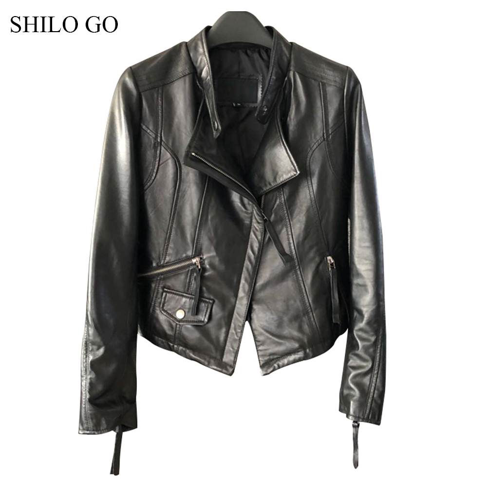 SHILO GO Leather Jacket Womens Spring Fashion sheepskin genuine leather Coat lapel collar front zipper causal locomotive jacket
