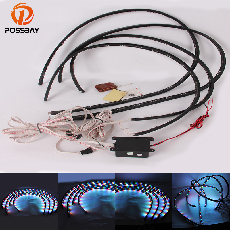 POSSBAY Waterproof 90x120 Colorful LED Under Car Light Auto Chassis Light Kit With Remote Control Underbody Led Bar