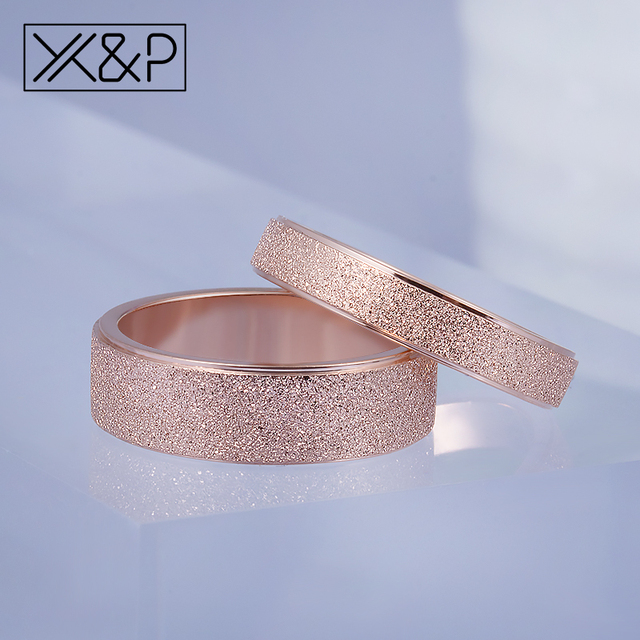 X&P Fashion Charm Rose Gold Frosted Finger Rings for Women Men Wedding Top Quality 316L Stainless Steel Ring Jewelry Never Fade