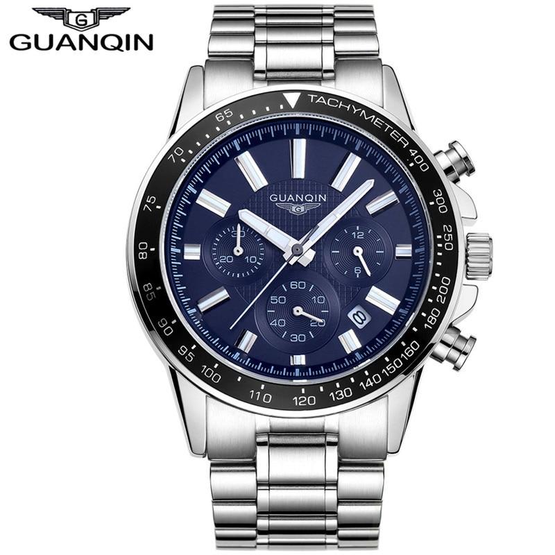 2017 GUANQIN Sports Quartz Mens Wrist Watch Top Brand Luxury Clock Male Full Stainless Steel Luminous Watch Relogio Masculino|masculino|masculinos relogios|masculino watch - title=