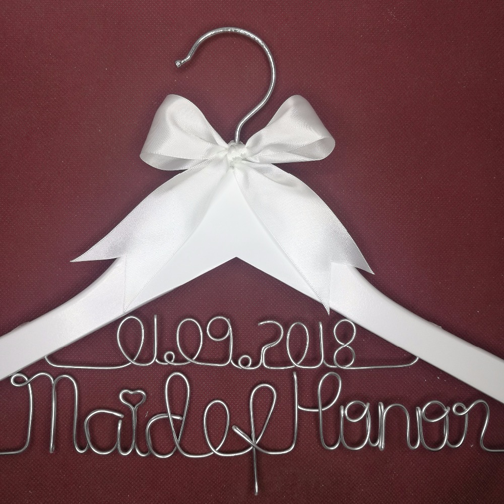 Percha de boda personalizada, regalos de dama de honor, nombre percha, percha de novias