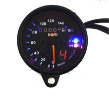 New Universal Motorcycle Dual Odometer Speedometer Gauge LED Backlight Signal Light 12V Repair black
