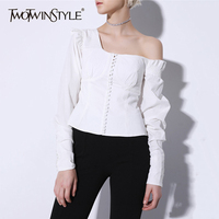 TWOTWINSTYLE Off Shoulder Shirt Women Lantern Sleeve Palazzo Slim White Blouse 2018 Spring Large Size Vintage Tops Clothing