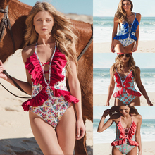 Bikini 2019 one piece swimsuit swimming suit for women beach lace decoration print one-piece small fresh swimwear