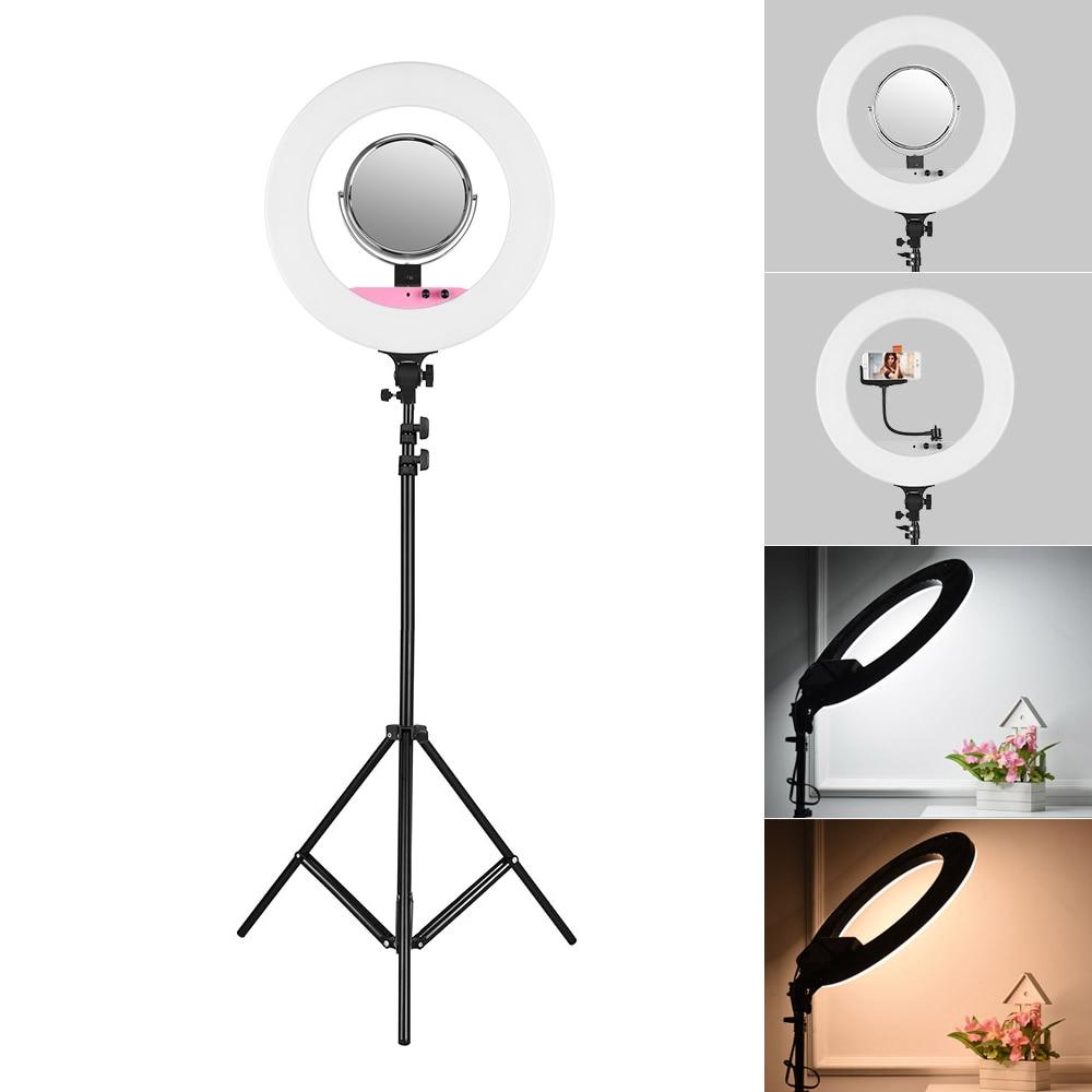 Andoer 18inch LED Video Ring Light Kit w 2m Light Stand Mirror Phone Holder Bag 80W