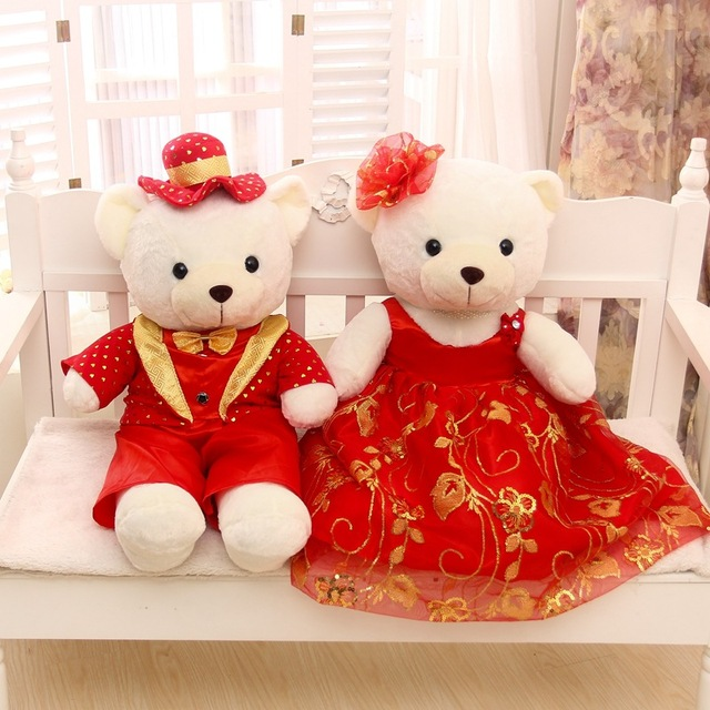 Valentineu0027s Day Gift Large About 60cm Wedding Teddy Bear Plush Toy Couples  Love Bear Doll Gift