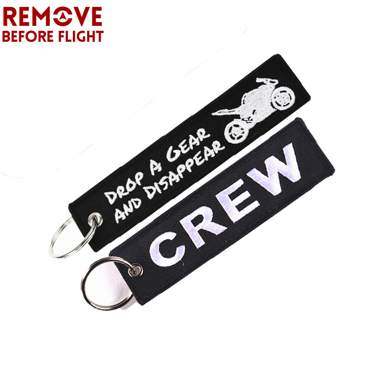 2 PCS Remove Before Flight Keychain llaveros Luggage Tag Embroidery Key Ring for OEM Motorcycle Keychains Aviator Aviation Gift