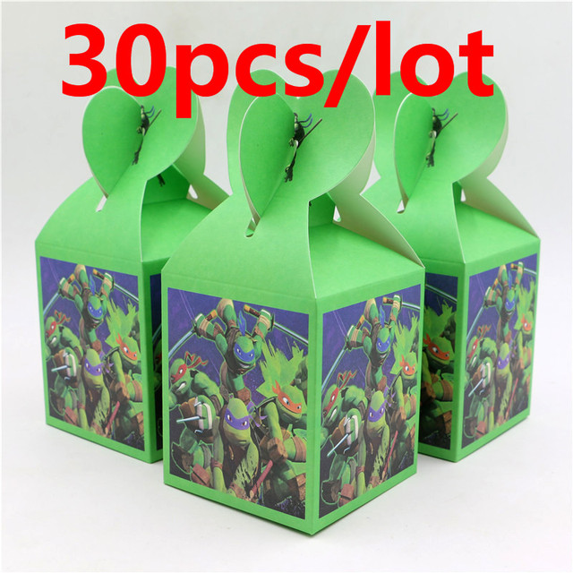 30pcs Decoration Ninja Turtle Candy Box Party Paper Food Gift Baby Shower Kids Favor Tableware