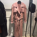 New Gorgeous Genuine Shearling Sheepskin Women Windbreaker Luxary Pink Black Color Long Overcoat Real Shearling Female Clothing