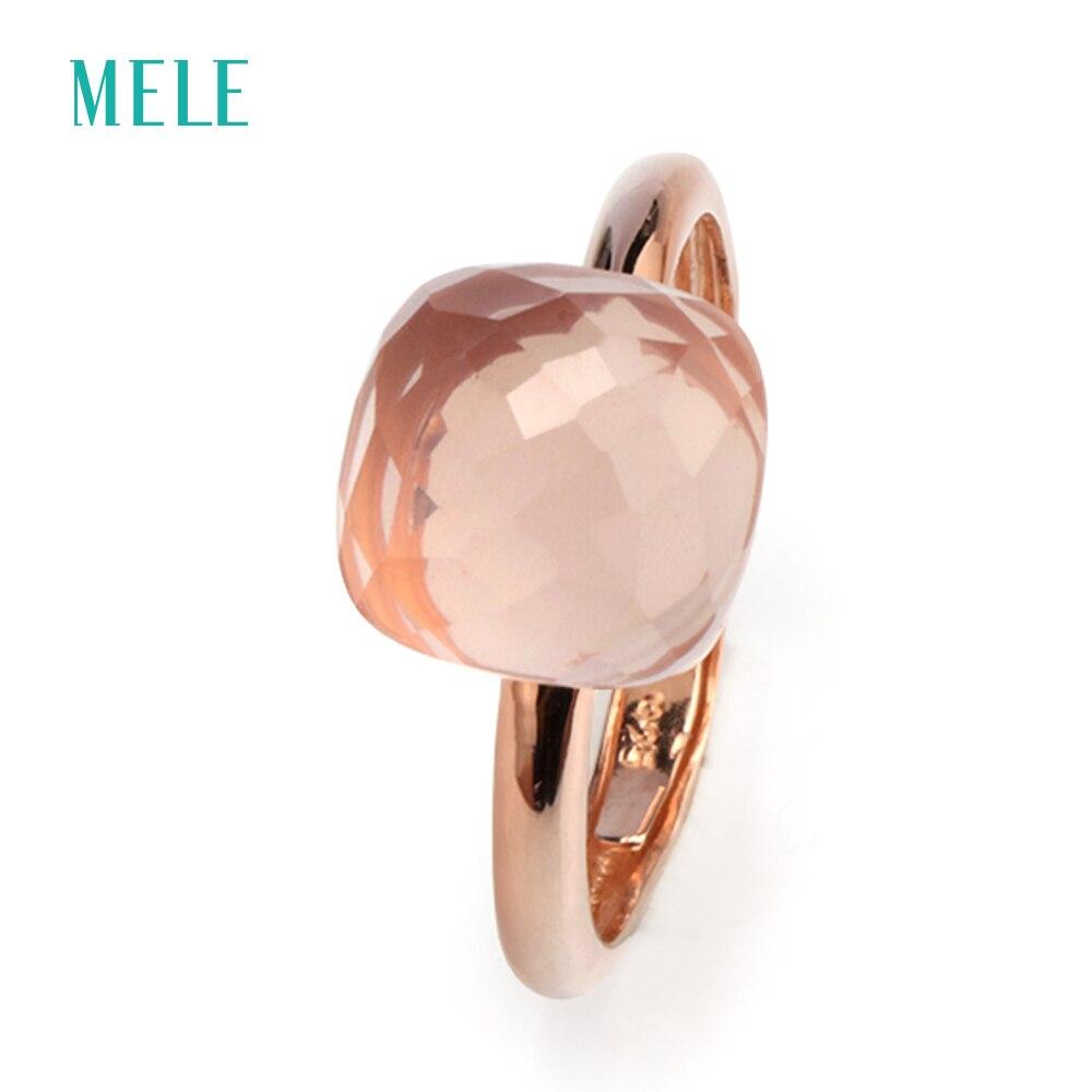 MELE натуральный розовый кварц серебряное кольцо, светло-розовый цвет, подушка 10 мм * 10 мм, checkboard резки, ювелирные изделия кольцо