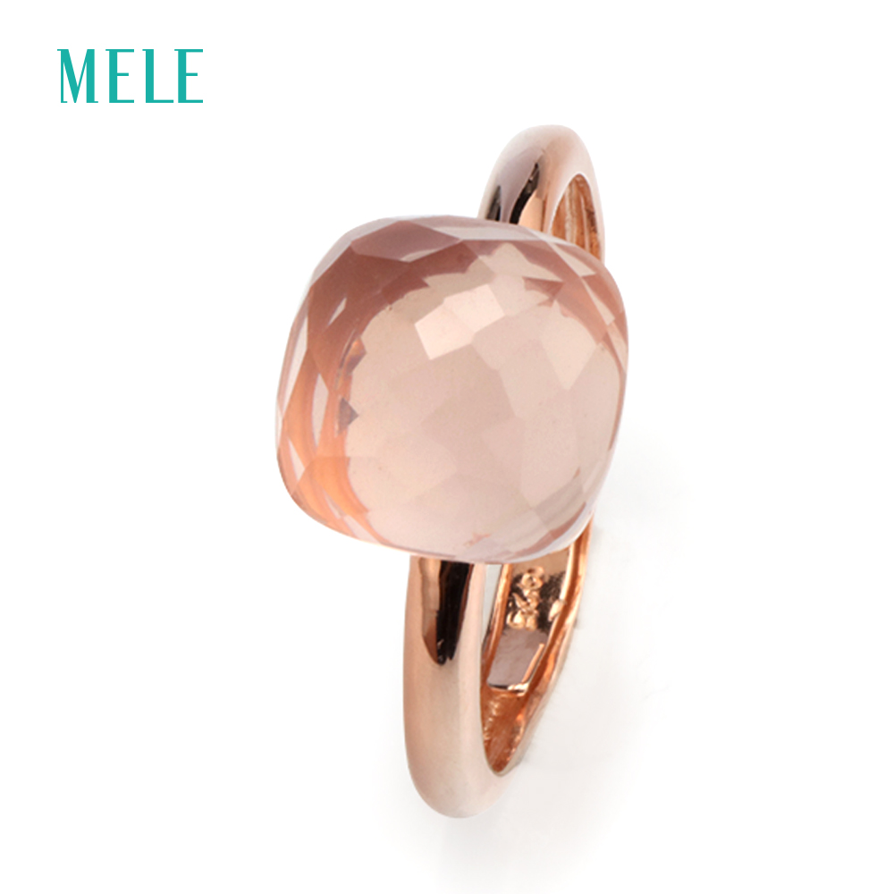 Natural Rose Quarts Silver Ring Rose Gold Plated 10mm 10mm Checkboard Cutting Fashion Jewelry Ring