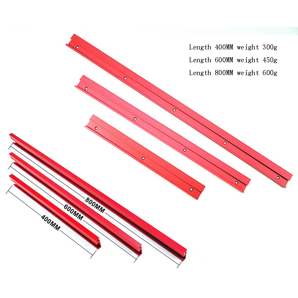 400/600/800MM 45 Type Red Aluminum Alloy 45 Type T-Track Woodworking T-slot Miter Track/Table Saw Router Miter Gauge DIY Tools