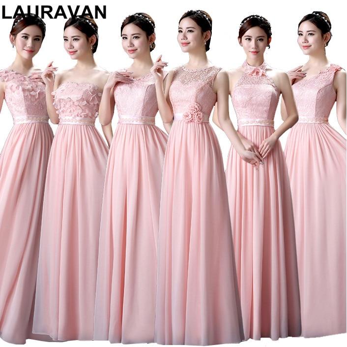 pale light pink plus size long maxi bridesmaid a-line chiffon bride maid dresses  for 363bc15025e8