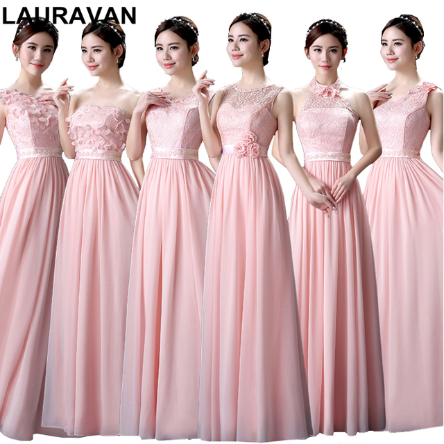 pale light pink plus size long maxi bridesmaid a-line chiffon bride maid  dresses for bridemaids gown weddings free shipping 4263d3352b08