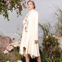 Новое качество модные длинные кардиганы 2018 осень зима женские аппликации вышивка длинный рукав шерсть вязаный кардиган