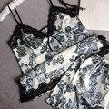 Хорошо продаются сексуальные женские цветок печатных пижамы наборы натурального шелка пижамы высококачественные пижамы роскошные кружева шею пижамы