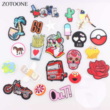 ZOTOONE LOVE Skull Flower Star Motorcycle 69 Patches Iron on Or Sew Fabric Sticker for Clothes Badge Embroidered Appliques DIY B(China)